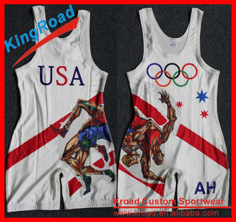 2016 New design state wrestling singlets wholesale wrestling suits sublimated wrestling wear