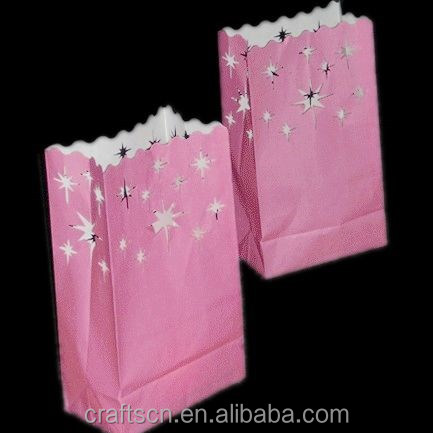 Colored luminary candle bags for birthday decoration