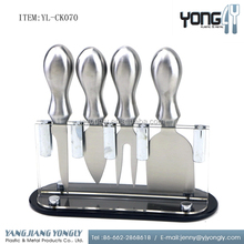With plastic holder 4-Piece set Stainless Steel cheese knife