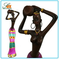 Designer Cheapest Resin Sexy Woman Figurines / Decorative Resin African Women Statue / Black Nude Lady