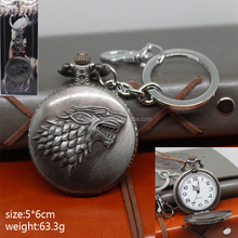 Hot Sale Game of Thrones Cosplay Movie Clock Pendant Anime Pocket Watch Keychain