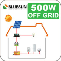 Better efficiency Bluesun solar system 500watt with roof mounted and ground mounted installation