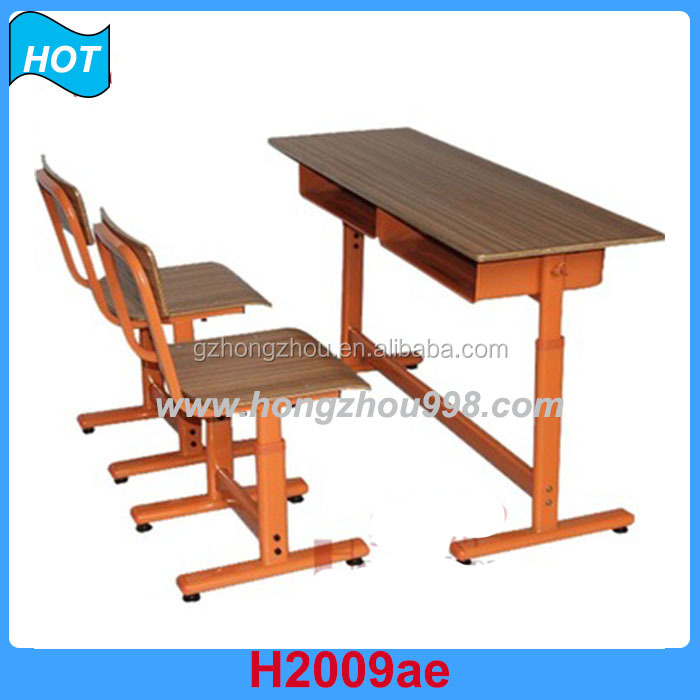 school furniture double seater attached desk and chair