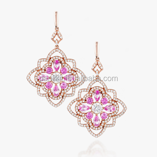 Royal Pink Sapphire Flower Drop Silver Earrings