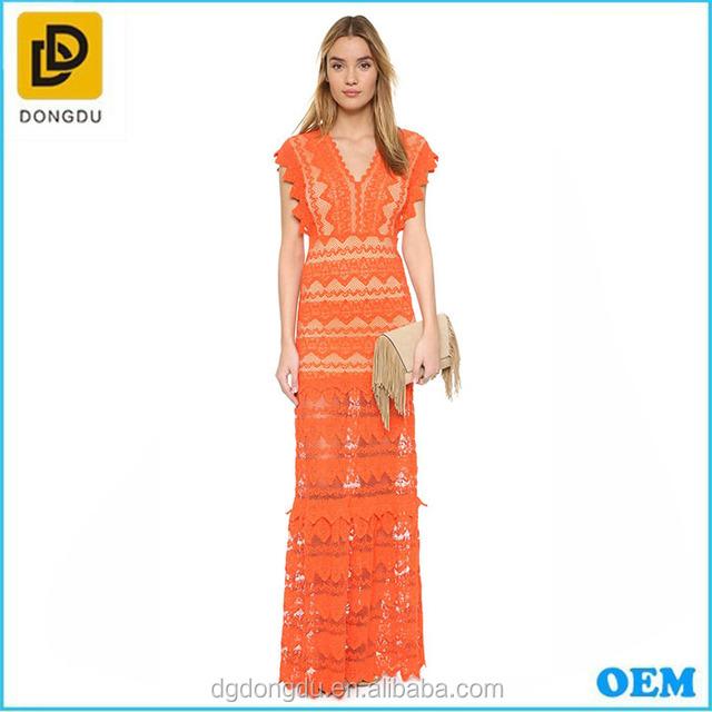 2016 dresses alibaba factory Midi long dress orange lace evening dress