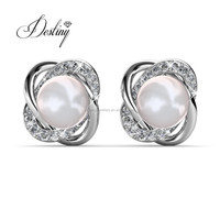 Destiny Jewellery elegance women jewelry pearl earring real gold plated earrings made with crystal from swarovski