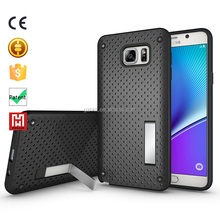 Protective case TPU+PC bumper Net Mesh Stand Mobile phone body covers for samsung galaxy note 5