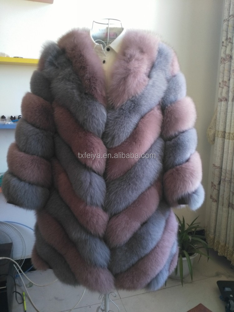 Latest Real Fox Fur Fashion Elegant Unique Women's Coat Winter Coats
