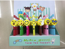 wholesale high quality school supplies fancy smile face cartoon character promotion pvc ballpoint pen for kids gifts