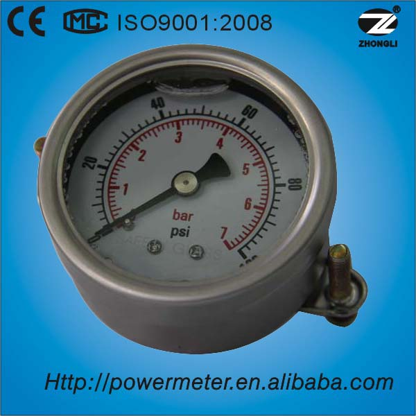 "2.5"" SS304 oil filled pressure gauge with diamond support 1/4"" BSP or NPT,PT"