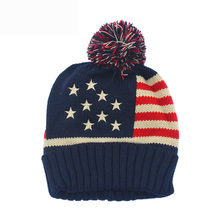 American Flag USA Knit Long Slouch Beanie Hat