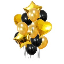 Party Decorations Balloons, Pack <strong>12</strong> '' Thickness Latex Balloons &amp; 18inch Foil Balloon (Gold and Black Color) SET099
