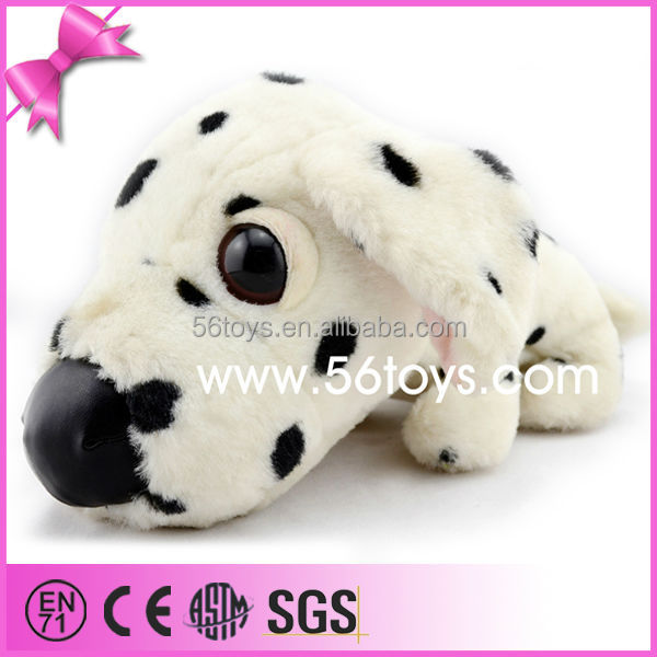 Big Head PU Nose Lying Posture China Best Made Top Quality Spotted Stuffed Plush Dog Toy