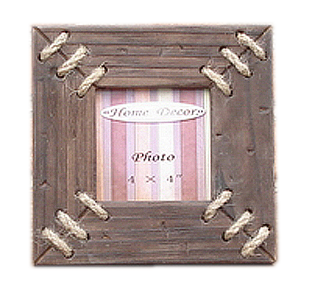 Wooden antique photo picture frame with rope decor