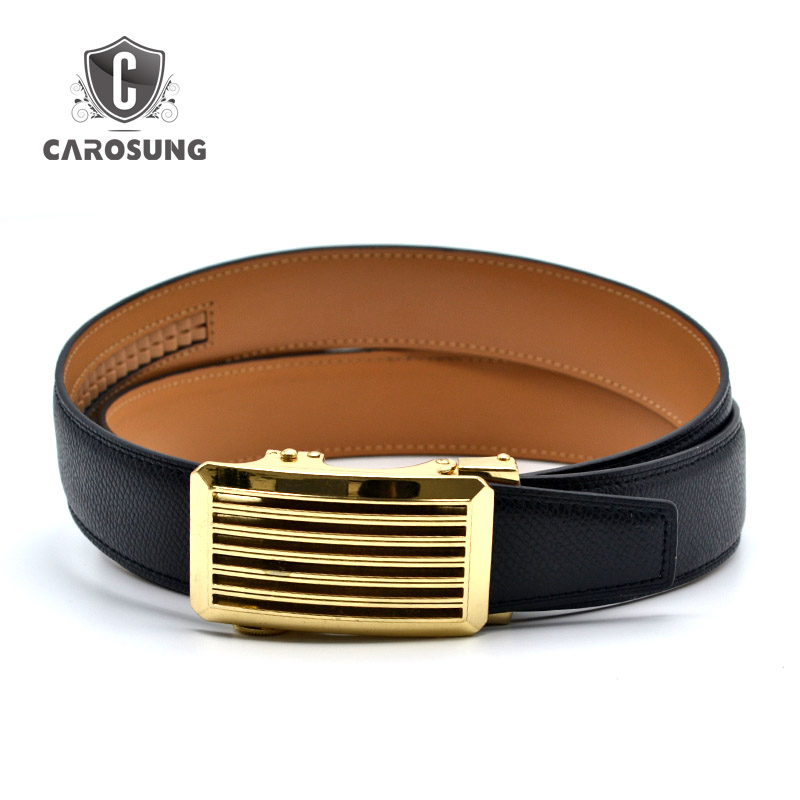 Gold Buckle Auto Genuine Leather Men Belt Guangzhou Manufacturer