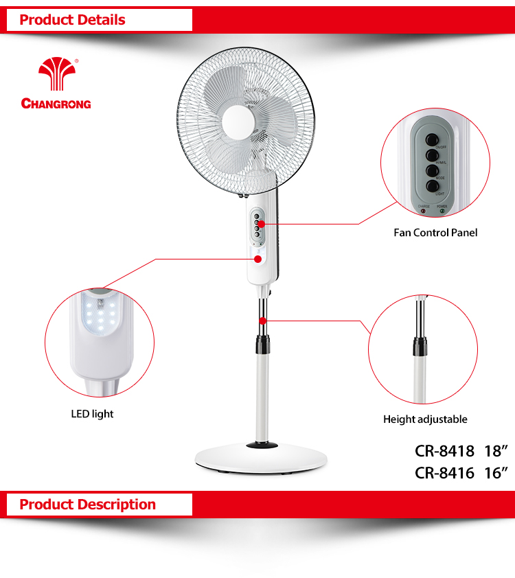 18''Rechargeable solar powered outdoor fans