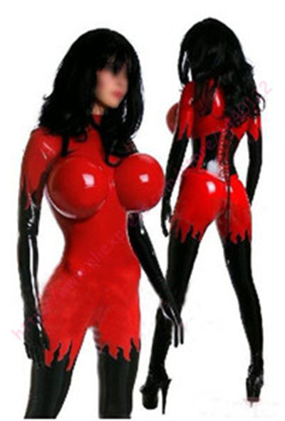 Fashion women 2015 Red and black Latex rubber fetish bodysuits catsuit  gummi 0.4mm plus size Hot sale