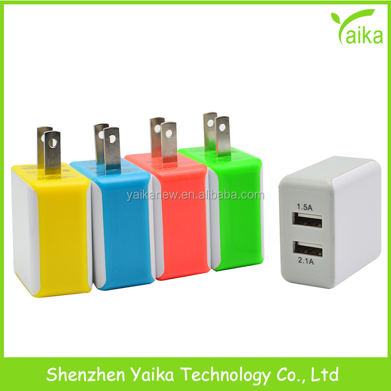 Yaika mini 5V 2.1A colorful dual usb port Wall Home Travel Power Charger Adapter