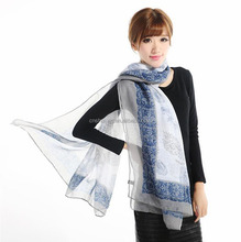 Women Girls Floral Printed custom oem Chiffon voile Long Scarf Wrap Shawl