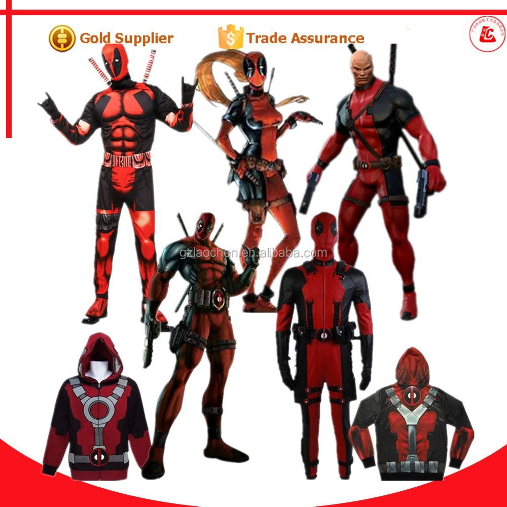 professional cartoon character adult sex cosplay costumes deadpool costume for men