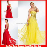 HE2030 Luxury bright yellow heavy beaded sequins glass diamonds top sweetheart chiffon with tonal beading cheap evening dress