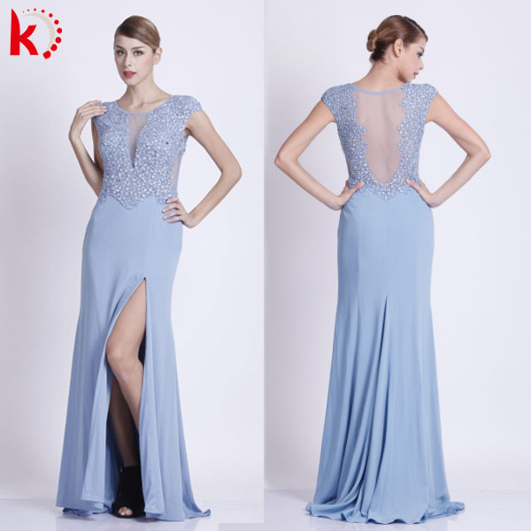 See through side slit beaded elegant evning dresses for women party