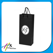 Black Custom Kraft Paper Bags for Wine Bottle with Handle From Factory