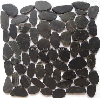black sliced mesh pebble stone