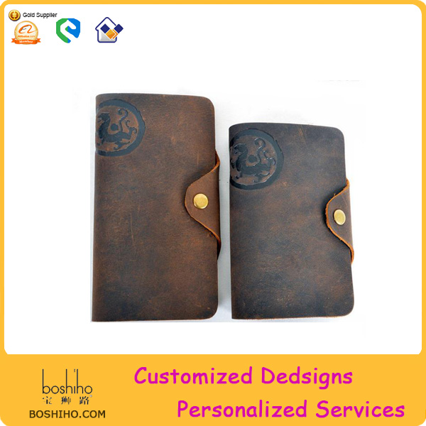 Customized logo genuine leather men's wallet with button