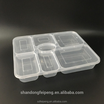 Microwave And Disposable Pp Plastic Food Packaging Containers With 7 Compartments Dividers