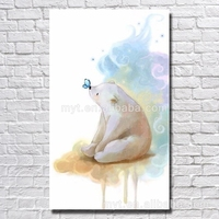 Butterfly in white bear nose dropshipping canvas oil painting bedroom decorating cute animal wall pictures