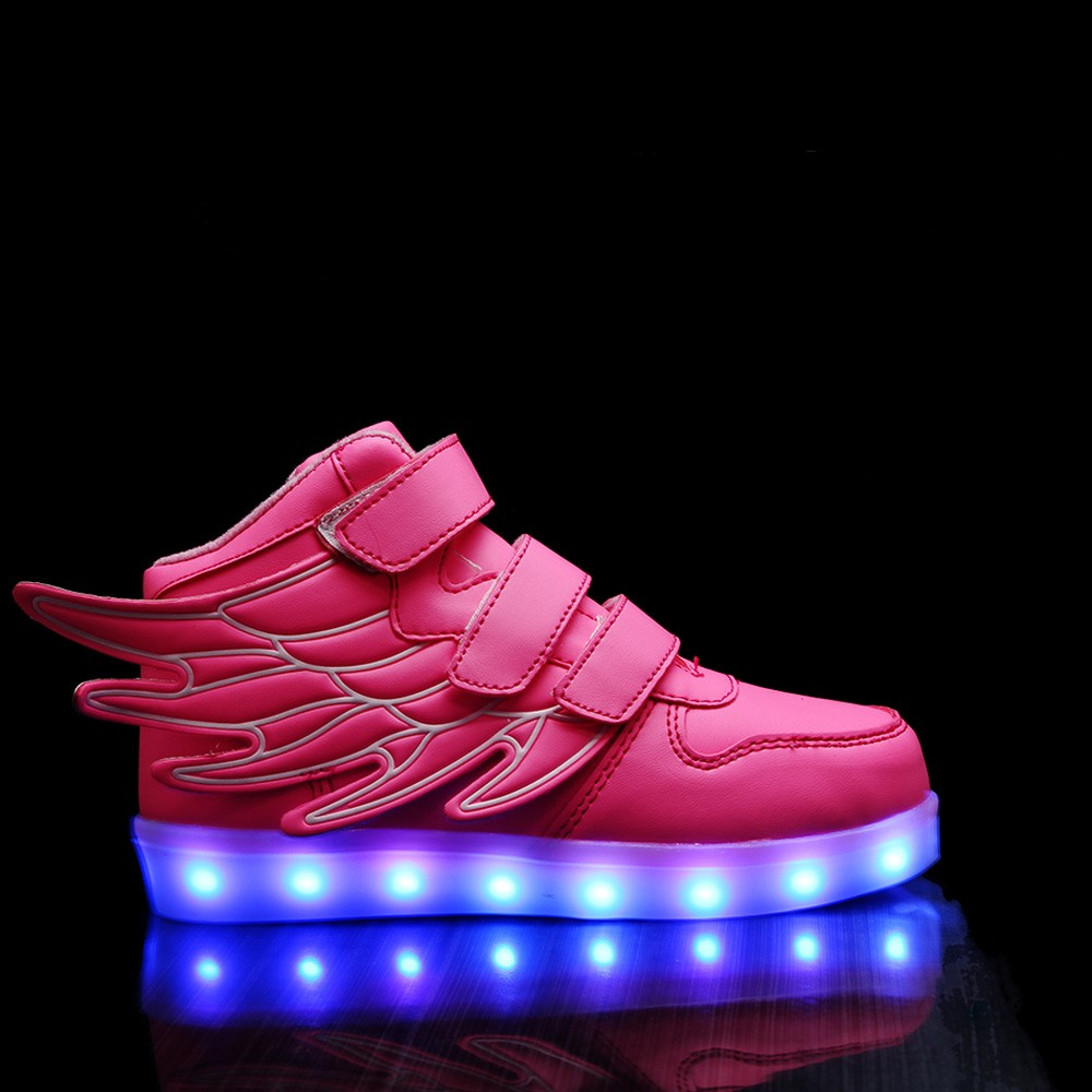 HC-K50 latest new design girls wing led light up kids shoes with binking light
