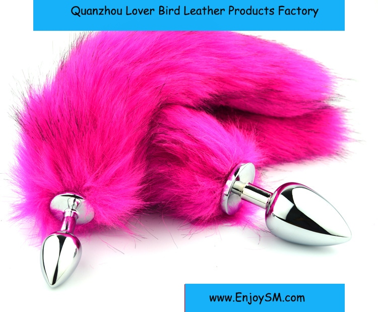 Stainless Steel Metal Anal Plug Fox Tail Adult Sex Toys Anal Butt Plugs Coplay Anal Tail Rose Red /Black Fox Tial Sex Products