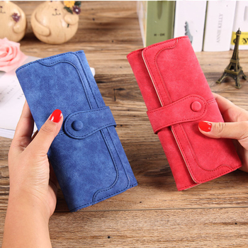Western Fashion Lady Purse Frosted Leather Long Vintage Large Capacity Money Clip Card Holder Women Clutch Bag Wallet Carteira