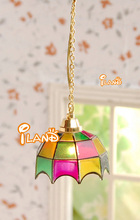 Doll house Miniature Light Hanging Lamp colored tiffany-12 volt LC013