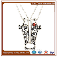 Couple Two Pendant Antique Silver Necklace