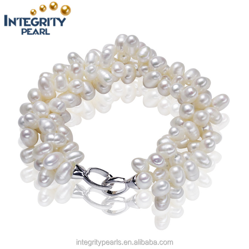 925 Silver Cultured Natural Freshwater Pearl Bracelet