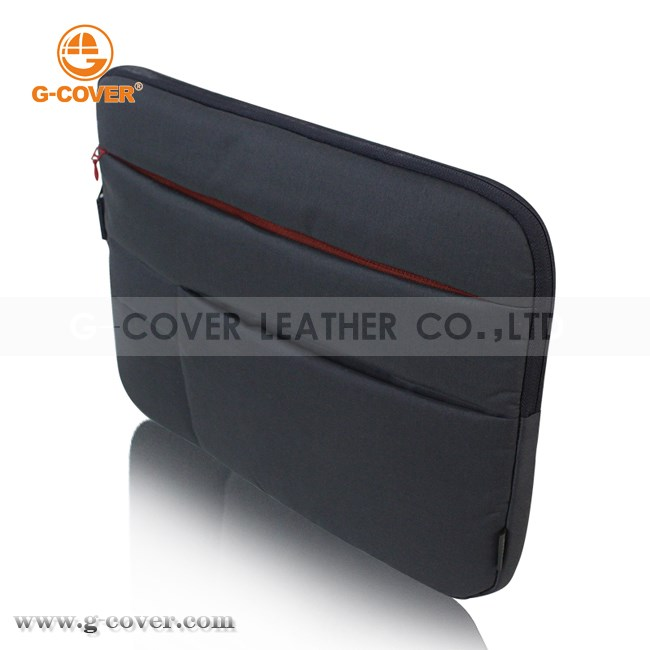 13.3 inch waterproof nylon laptop sleeve case with multi-pockets