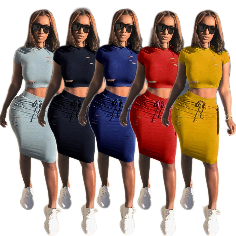 B33360A prom dress 2 pieces 2017 summer t shirt and skirt bandage dress set