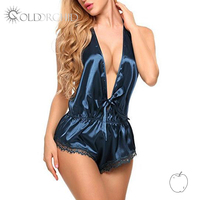 European and american large size mature femme bodysuit sleepwear satin slip sexy babydoll lingerie