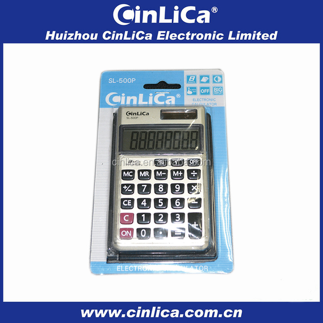 8 digit fancy electronic pocket calculator with leather cover