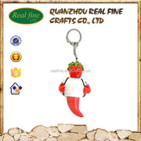 Polyresin Italy souvenir customized metal chili key chain