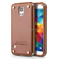 QIALINO Luxury Mobile Phone Genuine Leather business mobile case back cover for Samsung galaxy S5