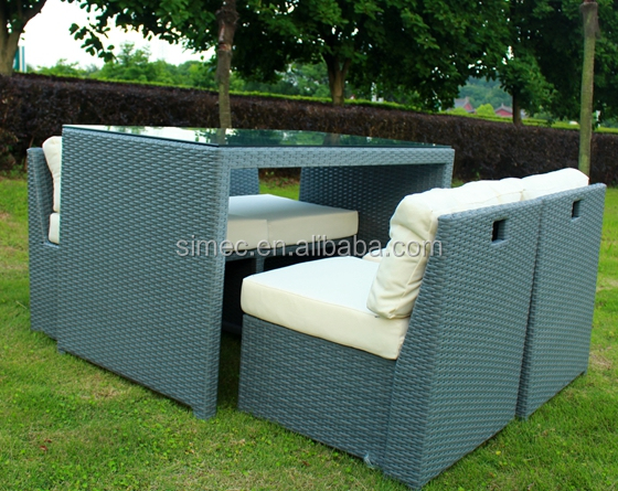 custom make outdoor cube dining table with 4pcs chairs