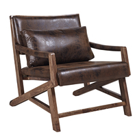 Antique Solid Wood and Waxy PU Leather Recliner