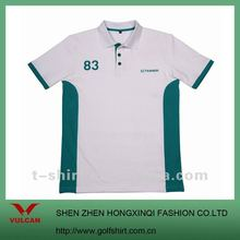 Popular 100% Cotton Short Sleeve White Polo shirt with green patch design