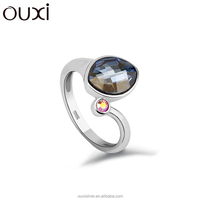 OUXI new design blue crystal 925 sterling silver engagement ring Y70015