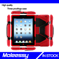 high quality waterproof 3 in 1 pc+silicone case for Ipad 234