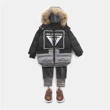 2016 Winter removable detachable hooded baby cotton coat Europe and the United States thicker boy Mianfu cotton-padded jacket