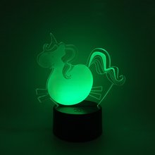 unicorn 3d night light kids 7 Color Desk Table Lamps with Optical Illusion Acrylic Flat USB Charge led motion sensor night light